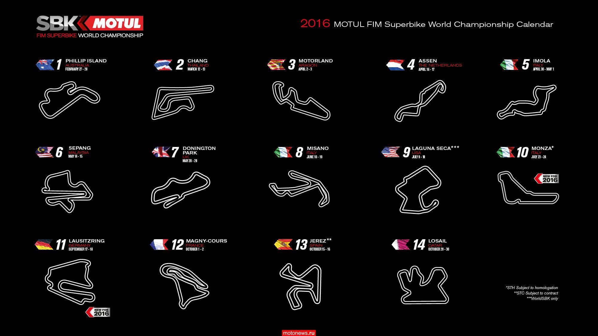 Календарь чемпионата WSBK-2016, версия первая