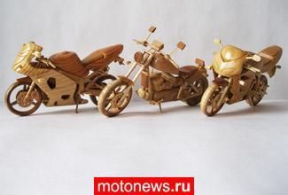 Мотоциклы из дерева как искусство